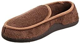 Isotoner Men\'s Microterry Slipper, Chocolate, Medium/8-9 D(M) US