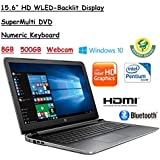 2017 Newest Flagship Model HP Pavilion 15.6 Premium Performance HD WLED-Backlit Laptop, Intel Quad-Core Pentium, 8GB RAM, 500GB HDD, Windows 10