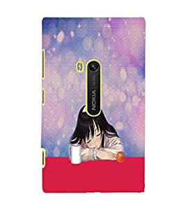 PrintDhaba Sleeping Girl D-2951 Back Case Cover for NOKIA LUMIA 920 (Multi-Coloured)