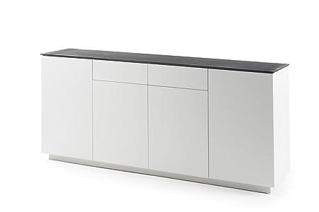 Kommode, Sideboard 2 Schubladen + 4 Turen, weiß matt lackiert, Deckplatte Steinoptik