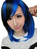 Rise World Wig Women's Bobo Cosplay Wig Black & Blue Heat Friendly Party Short Hallowmas Wig