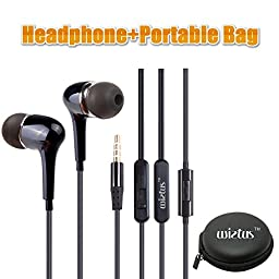 Headphone/earphone, WietusTM 3.5mm Stereo In-ear Noise-isolating Headphones with Mic+ Portable Mini Round Hard Storage Case Bag,Round cable, Compatible for iPhones, iPods and iPads, Android Devices, mp3 players, CD players and more