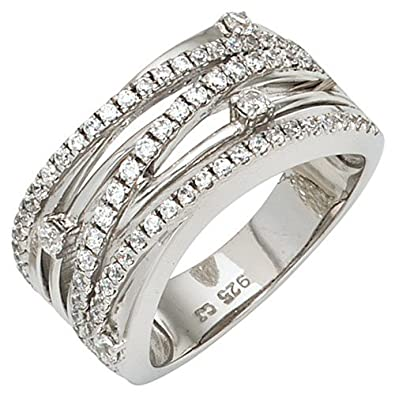 Women's Ring 925 Silver Ring from Broad & White Zircons Cross Over Eternity Ring