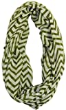 Soft Chevron Sheer Infinity Scarf in Contrasting Colors,One Size,Olive/White