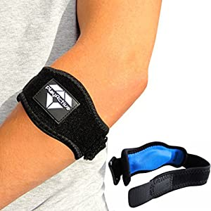 2-Pack Tennis Elbow Brace with Compression Pad by PlayActive Sports - Best Tennis & Golfer's Elbow Strap Band - Relieves Tendonitis and Forearm Pain - Includes Two Elbow Support Braces and E-Guide