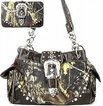 Western Belt Buckle Purse Camouflage Handbag Camo Brown Trim W Matching Wallet