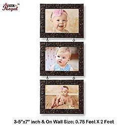 Ajanta Royal Drop-Down 3 - 5 x 7 Photo Frame (Brown Metalic) A-55