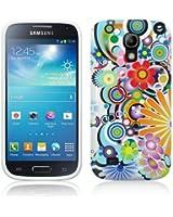 Etui de créateur pour Samsung Galaxy S4 Mini i9190 - Etui / Coque / Housse de protection blanc en TPU/gel/silicone avec motif floral jaune/bleu/violet