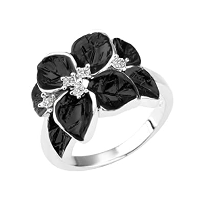 Alloy Gold-Plated White Gold Color Rhinestone Crystal Black Flower Ring