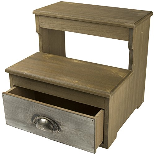 Wooden Two Step Stool with Metal Drawer (Natural)