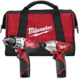 Milwaukee 2494-22 M12 Cordless Combo Drill Kit, 2 Battery