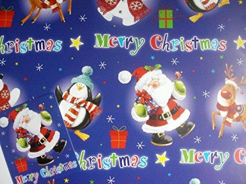 Geschenkpapier und 1 Geschenkanhänger, Nikolaus/Rudolph/Schneemann/Pinguin-Motiv, 2 Blatt