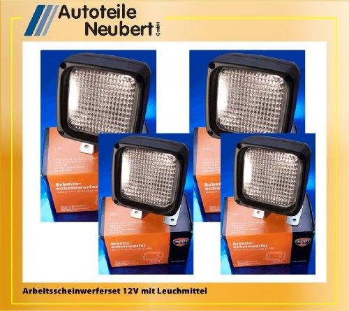 Set: 4x 12V Arbeitsscheinwerfer eckig mit Leuchtmittel
