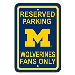 NCAA Michigan Wolverines 12-by-18 inch Plastic Parking Sign