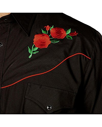 Ely Cattleman Men's Embroidered Rose Design Western Shirt - 15203901-88Blk 1