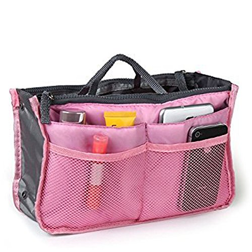 Top Quality Organizer Travel Bag For Women| 12 Compartment Tote/ Toiletry Bag For Makeup & Travel/ Cosmetic Accessories Organizing| Large Liner Insert-Organizer| Women`s Handbags ( Pink )