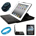 Durable Black All-in-One Bluetooth Keyboard and Protective Hard Case for Apple iPad 2 Tablet (16GB, 32G, 64GB) Fits Model: MC769LL/A, MC770LL/A, MC916LL/A + Clear Anti-Gloss Screen Protectors + Black USB Travel/Home Charger + SumacLife TM Wisdom*Courage Wristband