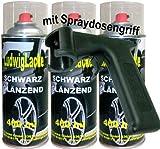 3 Lackspray Schwarz glänzend 400 ml je Spraydose + Spraydosengriff