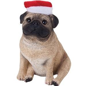 #!Cheap Sandicast Fawn Pug with Santa Hat Christmas Ornament