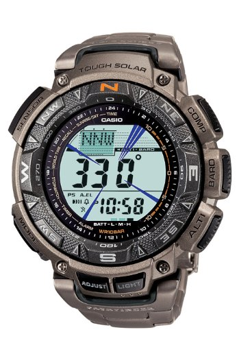 Casio Men&#8217;s PAG240T-7CR Pathfinder Triple Sensor Multi-Function Titanium Watch