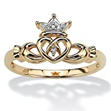 PalmBeach Jewelry Diamond Accent 10k Yellow Gold Traditional Celtic Symbol Claddagh Ring