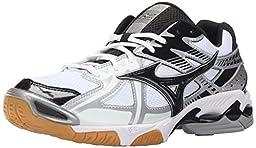 Mizuno Men\'s Wave Bolt 4 WH-BK Volleyball Shoe, White/Black, 9.5 D US