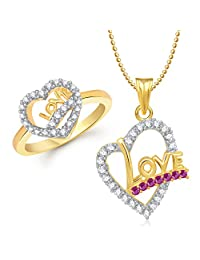 Meenaz Pendant Jewellery Set Combo Gold Plated For Women And Girls Com253