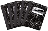 Mead Black Marble Composition Book, 100 College Ruled Sheets, 9.75 x 7.5 Inch Sheet Size, 5 Pack (72930)