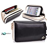 Apple iPhone 5 Runway Clutch/Purse by KroO [Black] Smartphone Case/Wallet with Attachable Wristlet and a Complimentary NextDia ™ Velcro Cable Strap