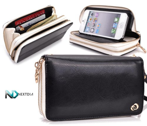 Special Sale Apple iPhone 5 Runway Clutch/Purse by KroO [Black] Smartphone Case/Wallet with Attachable Wristlet and a Complimentary NextDia ™ Velcro Cable Strap