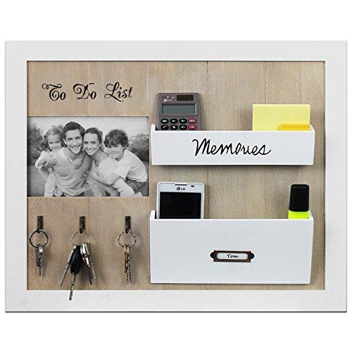 kaufen edler wandorganizer memoboard mit fotorahmen schl sselbrett und holztaschen 39x47x5cm. Black Bedroom Furniture Sets. Home Design Ideas