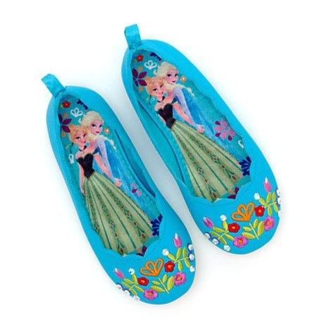 Authentic Disney Store, Frozen-Elsa, Anna, Pompa da donna in stile balletto scarpe per ragazze/bambini ricamata, motivo floreale, taglia UK 10--EU 28