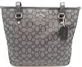 Coach Outline Signature Zip Top Tote Shoulder Bag F55364 (SV/Black Smoke/Black)