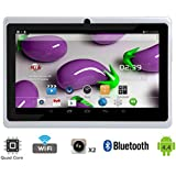 "Tagital® T7X 7"" Quad Core Android 4.4 KitKat Tablet PC, Bluetooth, Dual Camera, Google Play Store Pre-installed, 3D Game Supported, 2015 Newest Model- White"