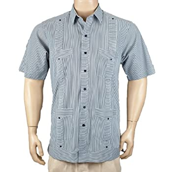 Deluxe Short sleeve white-black stripped Guayabera Shirt