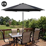 GotHobby 9ft Outdoor Patio Umbrella Aluminum w/ Tilt Crank - Black