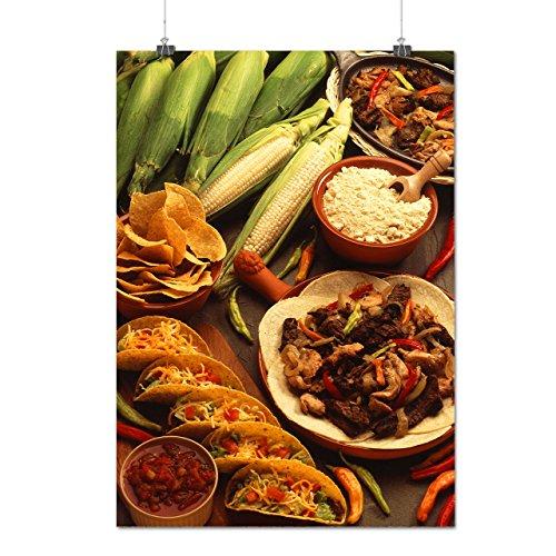 Taco Aliments Mexique Repas Matte/Glacé Affiche A1 (84cm x 60cm) | Wellcoda