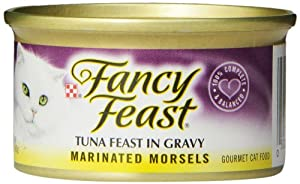 Fancy Feast Gourmet Cat Food, Marinated Morsels Tuna Feast in Gravy, 3-Ounce Cans (Pack of 24)