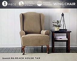 Surefit 1 Piece Stretch Rib Wing Chair Slipcover - Tan