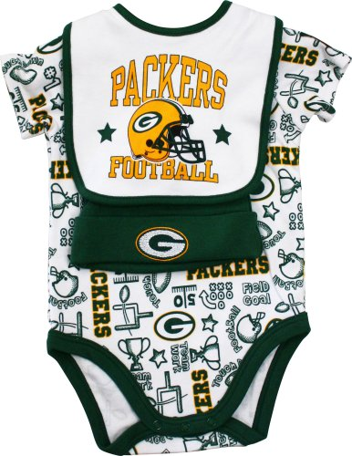NFL Green Bay Packers Boy's Bodysuit, Bib, Cap Set, 0-3 Months, Green at Amazon.com