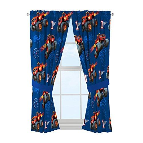 Nickelodeon Blaze High Octane Microfiber Drapes (2 panels, 2 tie backs) (Monsters Inc Bedroom Decor compare prices)