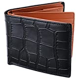 [レガーレ] メンズ 本革 二つ折り財布 カードたくさん入る 10色 (オリジナル化粧箱入り) クロコブラック×ブラウン