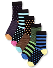 5 Pairs of Autograph Cotton Rich Striped & Spotted Socks