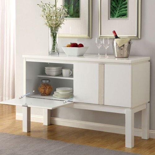 Contemporary Style White Gloss Lacquer Finish Buffet Server Cabinet