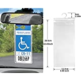 LotFancy Set of 2 - New Handicap Disabled Parking Permit Placard Protector Hanger Plastic Car Holder Hang Tag Sleeve