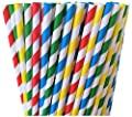 Red, Yellow, Blue and Green Striped Paper Straws -Primary Colors, Lego Hungry Caterpillar Birthday Party Supply Sesame Street 100%Biodegradable 7.75 Inches Pack of 100