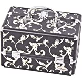 Sunrise C0005 2-Tier Accordion Trays Makeup Case With Shoulder Strap And Adjustable Dividers, 12-Inch, Black Floral
