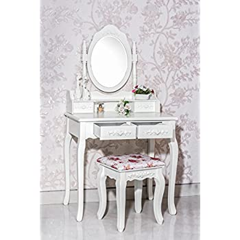 Gorgeous White Label Nefertiti Vanity Table with free stool (4 Drawer)