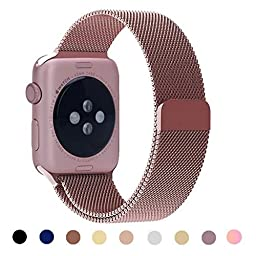 Vteyes Apple Watch Band Stainless Steel Bracelet Strap Magnetic with Unique Magnet Lock - Rose Gold