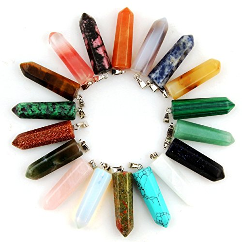 12pcs Healing Pointed Chakra Beads Pendants Point Bullet Shape Quartz Crystal Teardrop Stone Random Color Beads Pendant (Mixed Color) (Glass Gem Jade compare prices)